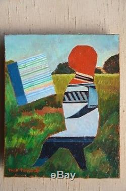 Max PAPART (1911-1994). Très beau tableau. Le peintre aux champs. Marseille