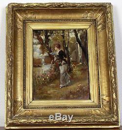 Merveilleux tableau huile sur panneau de bois, figurant une élégante