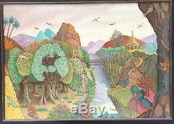 Monchâtre François huile sur panneau signée datée 1974 surréaliste art brut art