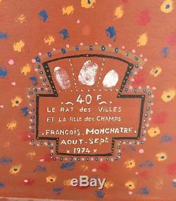 Monchâtre François huile sur panneau signée datée surréaliste art brut art