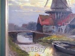 Moulin en Hollande, huile sur panneau de Kees Terlouw