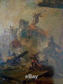 NICAISE DE KEYSER PEINTRE BELGE ROMANTIQUE scène bataille prise d'un château XIX