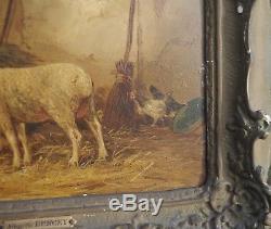 N° 2 d une Paire de peinture Ecole Barbizon 19° SIECLE les moutons A de Buncey