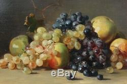 Nature morte, pommes raisins 1886, H. Denis Etchevarry (1867-1952), Bayonne, Basque