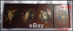 Oiseaux Suite de 4 Peintures Sur Panneau Gibier Natures Mortes Aux Oiseaux