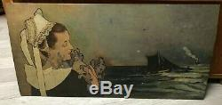 Old Original Vintage Oil Painting Breton Peinture Ancienne La Topeze, Mucha