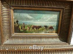 PAIRE DE PETITS TABLEAUX ANCIENS-hsp bergere moutons vaches fin du 19é