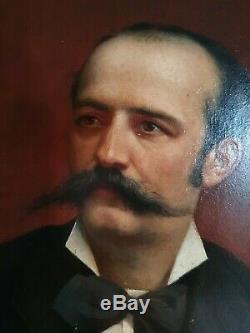 PAIRE DE TABLEAUX ANCIENS XIXe PORTRAITS hsp 1888 paris F. De sa