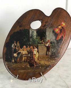 PAIRE D'HUILES SUR PALETTES SIGNÉES MENANDEZ, 1888 ÉCOLE ESPAGNOLE DU 19e