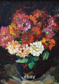 PASTOUR Louis (1876-1948) Bouquet de Zinnias Fleurs Cannes Provence Bonamici