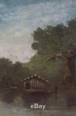 PAYSAGE BARBIZON LACUSTRE TABLEAU ANCIEN HUILE SUR BOIS 19e XIXe