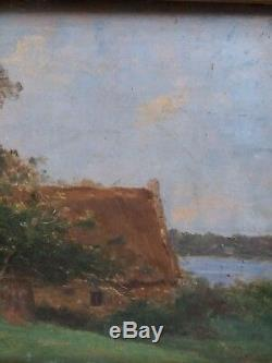 PAYSAGE BARBIZON fin 19ème siècle TABLEAU HUILE sur BOIS ENCADRE proche COROT