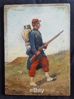 POILU en uniforme tableau peinture à l'huile Alexis DEMARLE