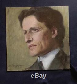 PORTRAIT D'HOMME SIGNÉ G. LAUTENSCHLÄGER (1859-1945)-Ca 1900-HUILE SUR PANNEAU
