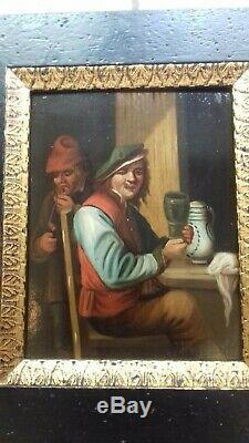 Paire de tableaux anciens, huile sur bois, école flamande, peinture, painting