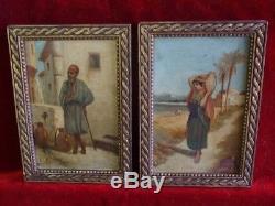 Paire tableaux anciens M. E FOURNAL Ecole Orientaliste XXe siècle Huiles panneaux