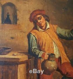 Paire tableaux anciens huile sur bois Ecole flamande scènes de taverne XVIIIème