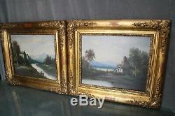Paire tableaux huile sur toile cadre bois doré 19e paysages rivière montagne