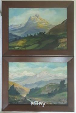 Paire tableaux huiles sur bois paysages montagnes Guy Le Florentin début XXème