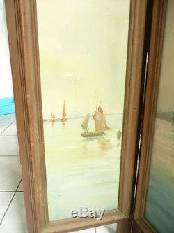 Pare feu. Brise vue peintures huiles sur toile cadre bois 19 eme