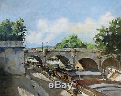 Paris 1959. Grand & Beau Tableau. Péniches Sur La Seine A L'ile De La Cité