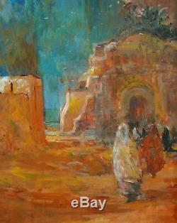 Patrice LANDAUER tableau huile paysage orientaliste oasis Orient orientalisme