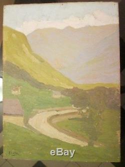 Paul Costes tableau huile sur panneau paysage Montagne
