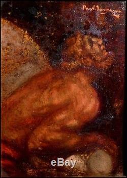 Paul Dangmann 1899-1974 Le Faune Implorant les Dieux Huile sur Bois Signée
