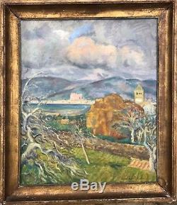 Paul Émile Colin Peinture Hsp 1920 Paysage Montagne Village Palma Espagne