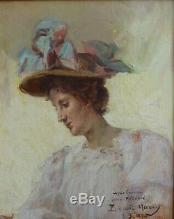 Paul LECUIT-MONROY (1858-), femme au chapeau 1900