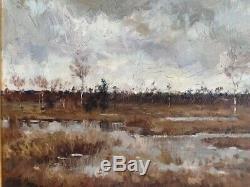 Paul Mathieu Ecole Belge 1900 Beau Tableau HSP Paysage Painting Landscape