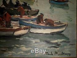 Paul Morchain 1876-1939 Bretagne Retour de pêche 30 marins peintre de la marine