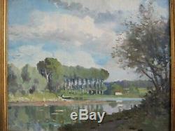Paul Morchain 1876/1939 Paysage de fond d'estuaire Bretagne Hsb 46 x 38 cm