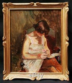 Paul PARFONRY tableau portrait femme déshabillé toilette intimité art moderne