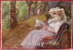 Paul SIEFFERT tableau huile dame femme lisant parc lecture livre paysage XIXème