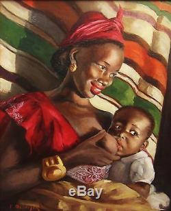 Paule Desnoyer Tableau Portrait Maternite Femme Noire Creole Antilles Peinture
