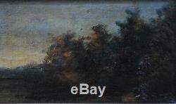 Paysage Crepuscule Huile Sur Panneau Signee Molin Fait Partie D'une Paire