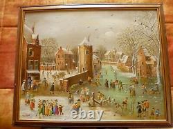 Paysage d'hiver hollandais, huile sur panneau, original, signé, cadre en bois