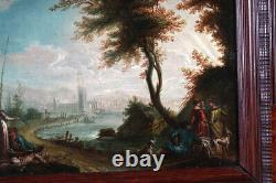 Paysage fluvial animé, Ecole Italienne XVIII°, Daté 1774 signée Illisible