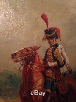 Péchaubès Peinture Huile sur panneau bois Soldat Ier Empire Chasseur Militaria