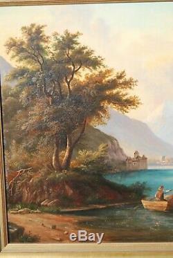 Pêcheurs et barques sur le Léman près du château de Chillon. Peinture XIXe s