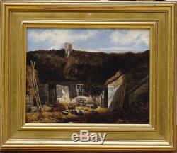 Peinture 1847 sur bois Chaumière signé Wery école de Barbizon