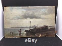 Peinture 19eme Marine Signature Ernest Pascal Blanchard A. Chevalier