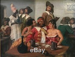 Peinture À L'huile-sur Bois-gustave Alaux-peintre-bordeaux-marine-corsaires-1930