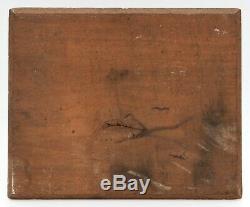 Peinture Ancienne Huile Originale Paysage, Coucher de Soleil, Rivière, Arbre
