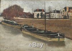 Peinture Ancienne Huile signé Paul GIVRY (XIX-XX) Péniche, Bateau, Berge