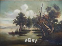 Peinture Barbizon 19eme Sous Bois Huile Sur Toile Signature A Identifier (c514)
