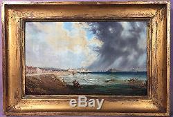 Peinture De Natalie Burlin 1875 / 1921 La Peche Huile Sur Panneau 35cm X 22c