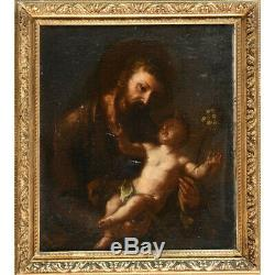 Peinture Du XVIIème. Saint Joseph Et l'Enfant Jésus
