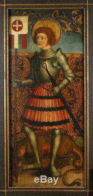Peinture Haute Epoque. Saint Georges. XVe siècle. Tempera Sur Bois